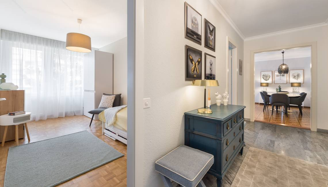 Rental Modern Fully Furnished and Renovated Apartment, with Balcony in Geneva Center  - Champel