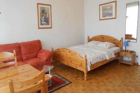 Charming Fully Furnished Studio with Bright Wood Furniture, in Geneva Center